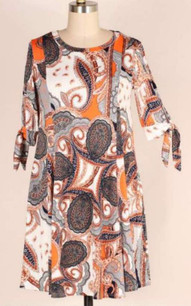 3849 Orange Coral Paisley Panel Tunic Pocket Dress