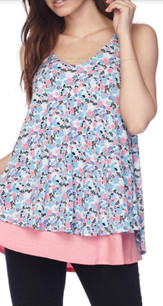 1724 Blue Printed Layered Tank Top