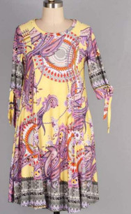 3849 Yellow Paisley Panel Tie Sleeved Tunic Dress