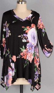 93066 Black Coral Floral Pocket Top