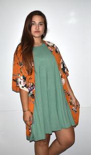 16722 Rust Floral Kimono