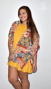 4068 Red and Blue Print Kimono