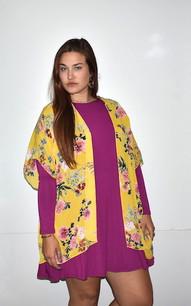 17264 Yellow Print Kimono