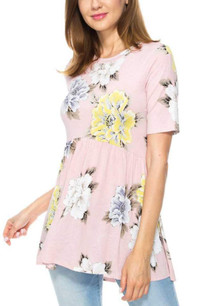 38235 Pink Floral Baby Doll Top