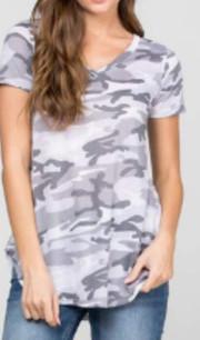 3941 Grey Camo Short Sleeved Top