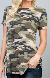 3492 Camo Olive Short Sleeved Top