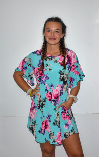VC3927 Light Blue Floral Printed Tunic Dress