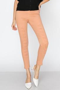 826 Deep Peach Distressed Slim Pants