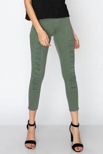 826 Light Olive Distressed Slim Pants