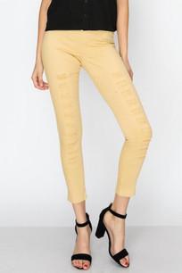 826 Mustard Distressed Slim Pants