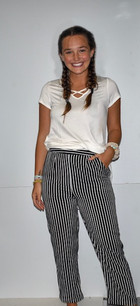 291 Black/White Striped Pants