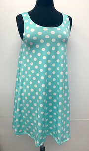 6005 Mint Polka Dot Tank Side Pocket Dresses