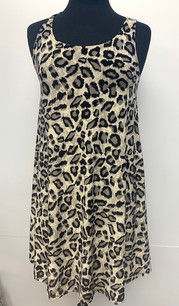 6005 Leopard Tank Side Pocket Dresses