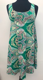 6005 Green Paisley Tank Side Pocket Dresses