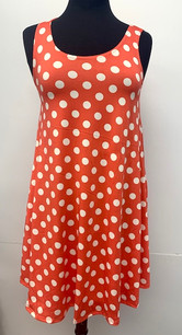 6005 Orange Polka Dot Tank Side Pocket Dresses