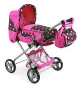 Chic Combi Doll's Pram With Adjustable Handle - Bambina Pinky Dot Design