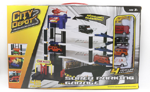 City Depot Super Parking Garage With 4 Vehicles Playset