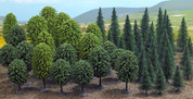 Busch OO/HO Guage Pack Of 50 Mixed Trees for Railway Scenery