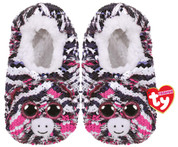 TY 95507 Plush Sequin Slippers -  Zoey the Zebra - Small