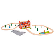 Bigjigs Wooden Railway Railway Carry Station Train Set