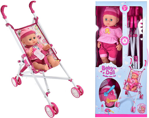 Baby Doll Stroller Play Set with Stroller & Dolls Accessories