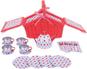 Bigjigs Colourful Spotted Tea Set and Carry Basket