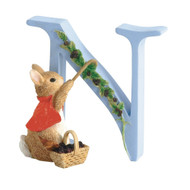 Letter N  Cotton Tail Figurine - Beatrix Potter Classic