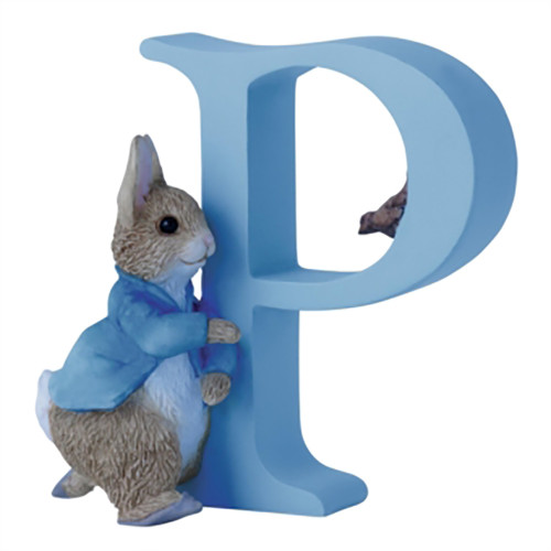 Letter P  Running Peter Rabbit Figurine - Beatrix Potter Classic