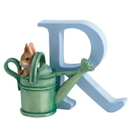 Letter R Peter Rabbit in Watering Can Figurine - Beatrix Potter Classic