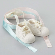 Baby's first Ornament shoe - Can change to blue or pink ribbon