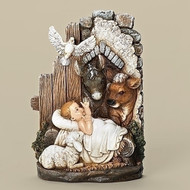 Baby Jesus in Manger with Animals