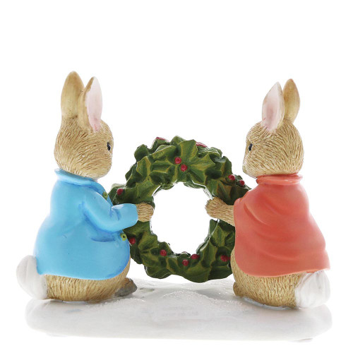 Beatrix Potter Peter Rabbit and Flopsy Holding Holly Wreath