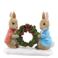 Beatrix Potter Peter Rabbit and Flopsy Holding Holly Wreath Figurine