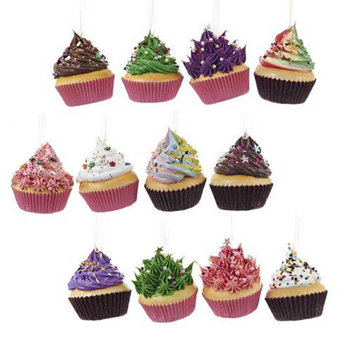 Kurt Adler Foam Cupcake Hanging Ornaments ( 12 Colours)
