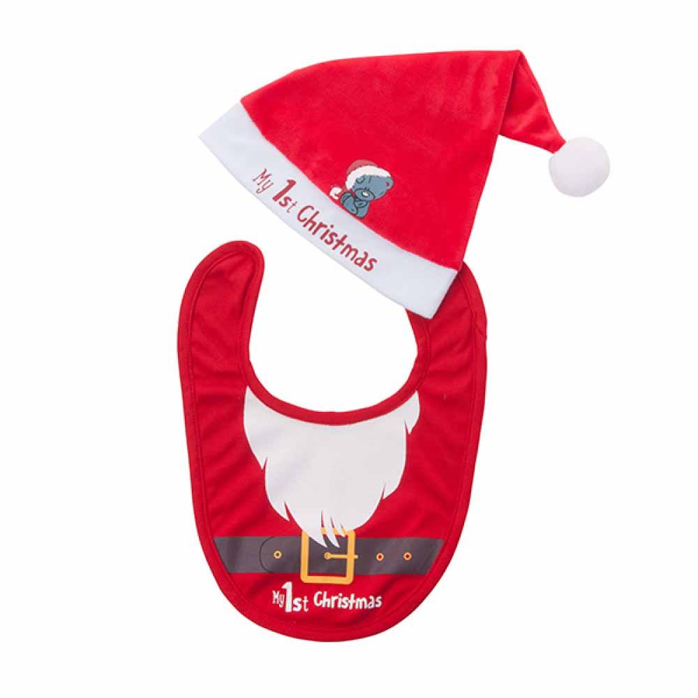 Bib and Hat First Christmas - OSFA - Babys First a37fb929a90
