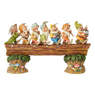Jim Shore Seven Dwarfs On Log Masterpiece Musical - 50cm