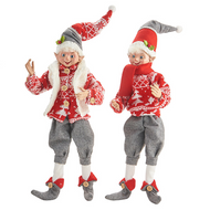 RAZ Yuletide Gathering Posable Elf (2 Designs) - 40cm
