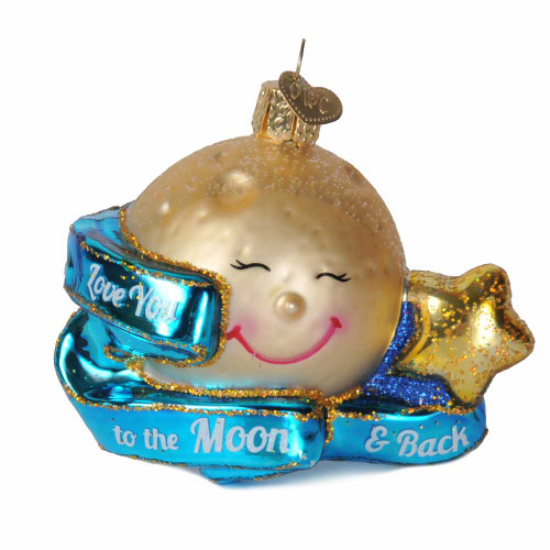 Love You To The Moon & Back Glass Ornament