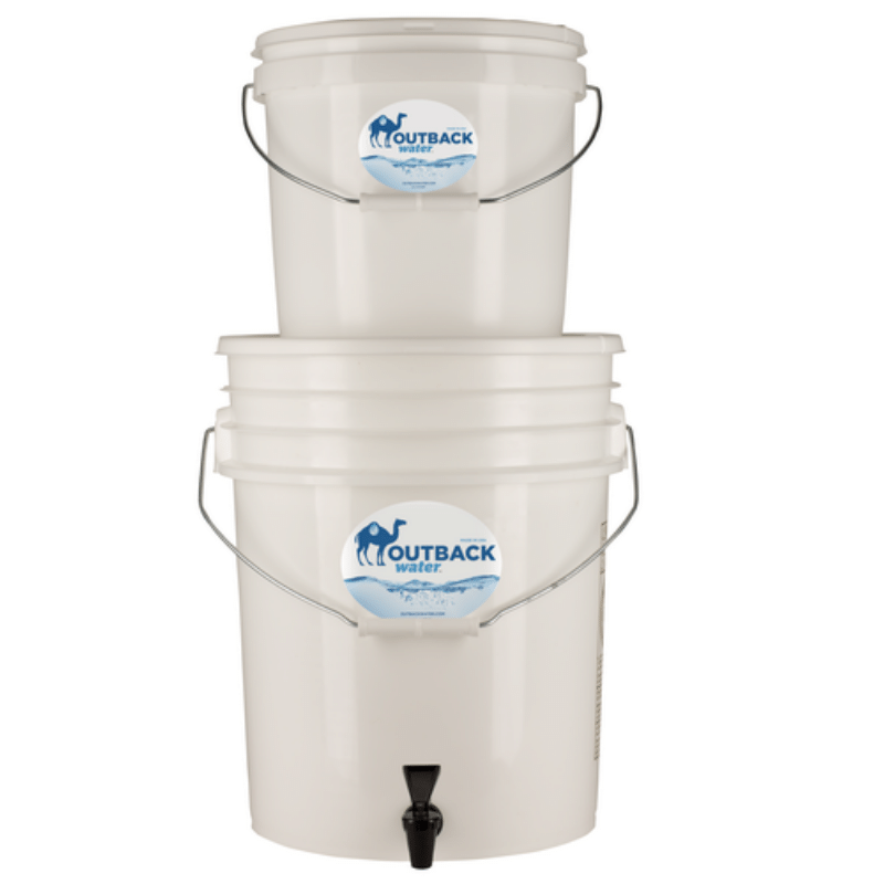 Outback gravity water filter for disaster preparing