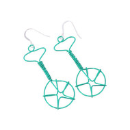 Wired Unicycle Earrings - Turquoise