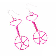 Wired Unicycle Earrings - Hot Pink