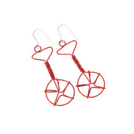 Wired Unicycle Earrings - Red