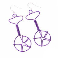 Wired Unicycle Earrings - Purple