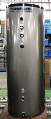 """ThermAtlantic 120 USG Stainless Steel Buffer Tank with 4 x 1-1/2"""" FNPT ports, Mg Anode, 3/4"""" FNPT T&P & drain ports, 1-1/2"""" & 1"""" FNPT ports for optional heating elements or connections, 2 x 1/2"""" thermal wells, 2"""" Polyurethane foam insulation.  This tank was specially designed to be used as either a buffer tank with hydraulic separation or as a storage tank.  It can also be fitted with optional field-installed backup heat elements which can eliminate the need for a backup boiler in some installations.  Made from 14 AWG high quality 316L stainless steel, these tanks are designed to last 10-25 years in closed loop hydronic installations and at least 10 years when used in potable water applications.  Tank is rated for use up to 90°C / 194°F and up to 150 PSI and requires purchase of a separate T&P valve suited for the application."""