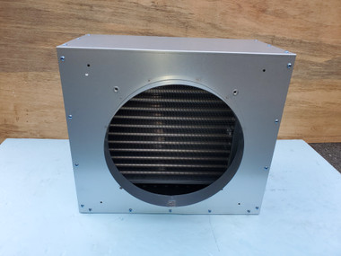 """Front view of cased chilled water coil showing 12"""" round flange connection."""