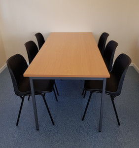 Beech Canteen tables and stacking chairs