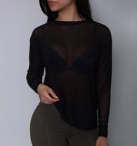 Black Sheer Mesh Long Sleeve Top