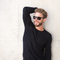 Awesome man with Sunglasses XL Black, Grey Lenses by the side . Polarized sunglasses Blueberry