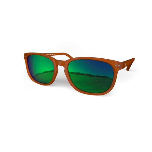 beautiful Sunglasses XL Toffee, Green MIRROR Effect Lenses by the side . Polarized sunglasses Blueberry