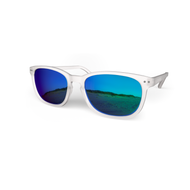 beautiful Sunglasses XL Crystal, Sky Blue Mirror Lenses by the side. Polarized sunglasses Blueberry
